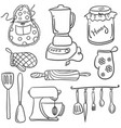collection stock of kitchen set doodles vector image vector image