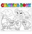 coloring book with farm animals 3 vector image