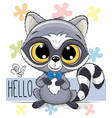 cute cartoon raccoon on a flowers background vector image vector image