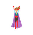 cute girl character dressed as a super hero vector image vector image