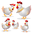 cute hen many actions vector image vector image