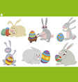 easter bunnies holiday set cartoon vector image vector image