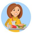 fast food or restaurant woman with tray isolated vector image vector image