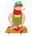 fisherman cutting a fish vector image vector image