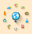 flat set icons globe and journey vacation vector image vector image