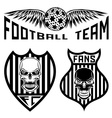 football team crests set with wings and skulls vector image vector image