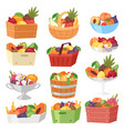 fruit basket fruity apple banana and exotic vector image