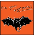Funny bat with text halloween card vector image vector image