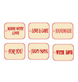 gift tag for your product with text handmade love vector image vector image