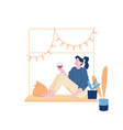 girl with pet weekend home relaxation young woman vector image