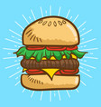 hamburger cartoon vector image