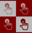 hand click on button bordo and white vector image vector image