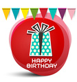 Happy Birthday Gift Box with Flags on Red Circle vector image