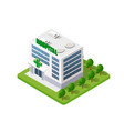 hospital isometric 3d building vector image vector image