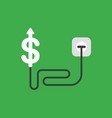 icon concept of dollar arrow moving up with cable vector image vector image