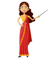 indian attractive young lady presenting something vector image