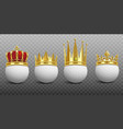 king golden crown on golf ball realistic template vector image vector image