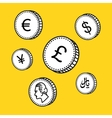 line hand drawn coins Black and white vector image