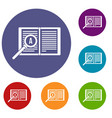 magnifying glass over open book icons set vector image vector image