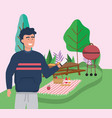 man with smartphone table grill food blanket vector image