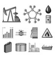 oil industry monochrome icons in set collection vector image