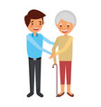 older woman grandma with young man holding hands vector image