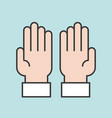 prayer hands for ramadan filled outline icon vector image