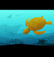 sea turtle swimming in deep blue sea art vector image