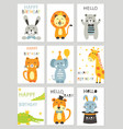 set greeting cards with cute animals vector image