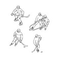 set hockey player in sports uniform black vector image vector image