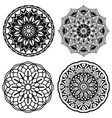 set of mandalas black and white vector image