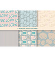 set vintage seamless patterns in pastel tones vector image