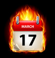 seventeenth march in calendar burning icon on vector image vector image