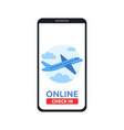 smartphone with online check in button and vector image vector image