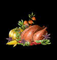 thanksgiving fried turkey with vegetables vector image vector image