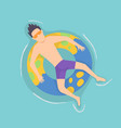 top view persone floating on air mattress in vector image