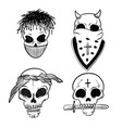 urban street hip hop gangsta rapper skulls in vector image