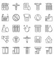 water treatment outline icons - filter vector image