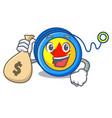 with money bag yoyo character cartoon style vector image