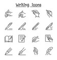 writing icon set in thin line style vector image