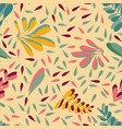 yellow pink leaves seamless background vector image vector image