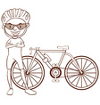 A plain sketch of a cyclist vector image
