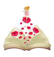 A book with an image of a fairy above a big rose vector image vector image
