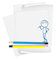 A paper with a sketch of a boy with a pencil vector image vector image