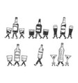 alcohol walks on its feet sketch engraving vector image