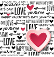 background with red valentine heart and wishes tex vector image