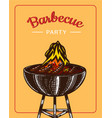 barbecue grill elements set isolated on yellow vector image vector image