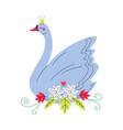 beautiful grey swan princess with golden crown vector image