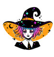 beautiful witch in a classic hat and colored hair vector image vector image