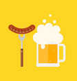 beer mug with foam and sausage on a barbecue fork vector image vector image